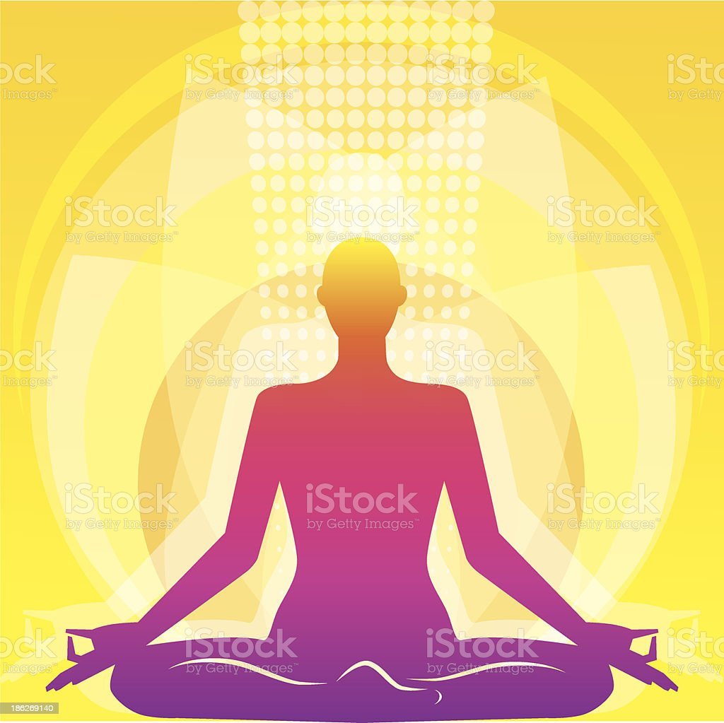 Vector illustration of a person meditating in a lotus pose royalty-free stock vector art