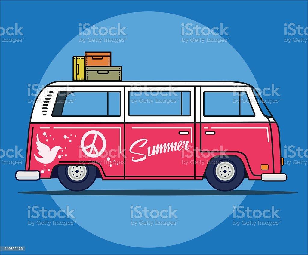 Vector illustration of a retro travel van in flat style vector art illustration