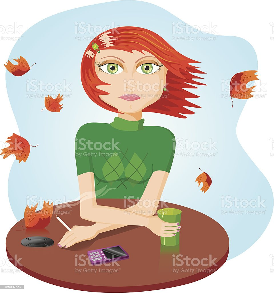 Vector illustration of a sad girl smoking at the table royalty-free stock vector art