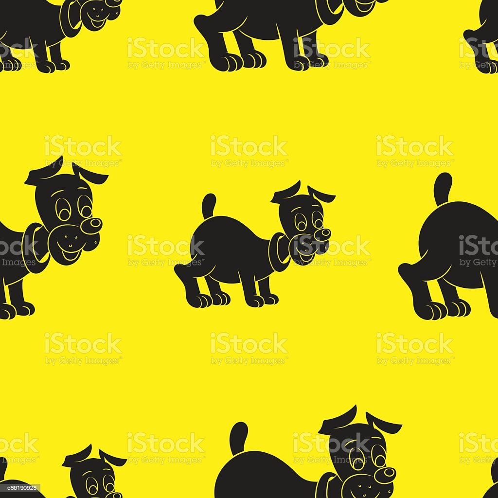 Vector illustration of a seamless pattern of cute puppy vector art illustration