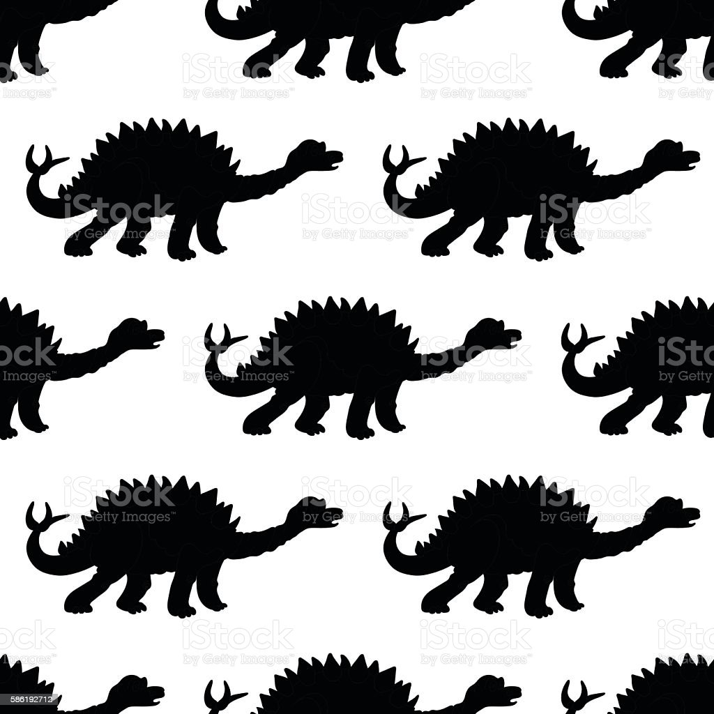 Vector illustration of a seamless repeating pattern of dinosaur vector art illustration