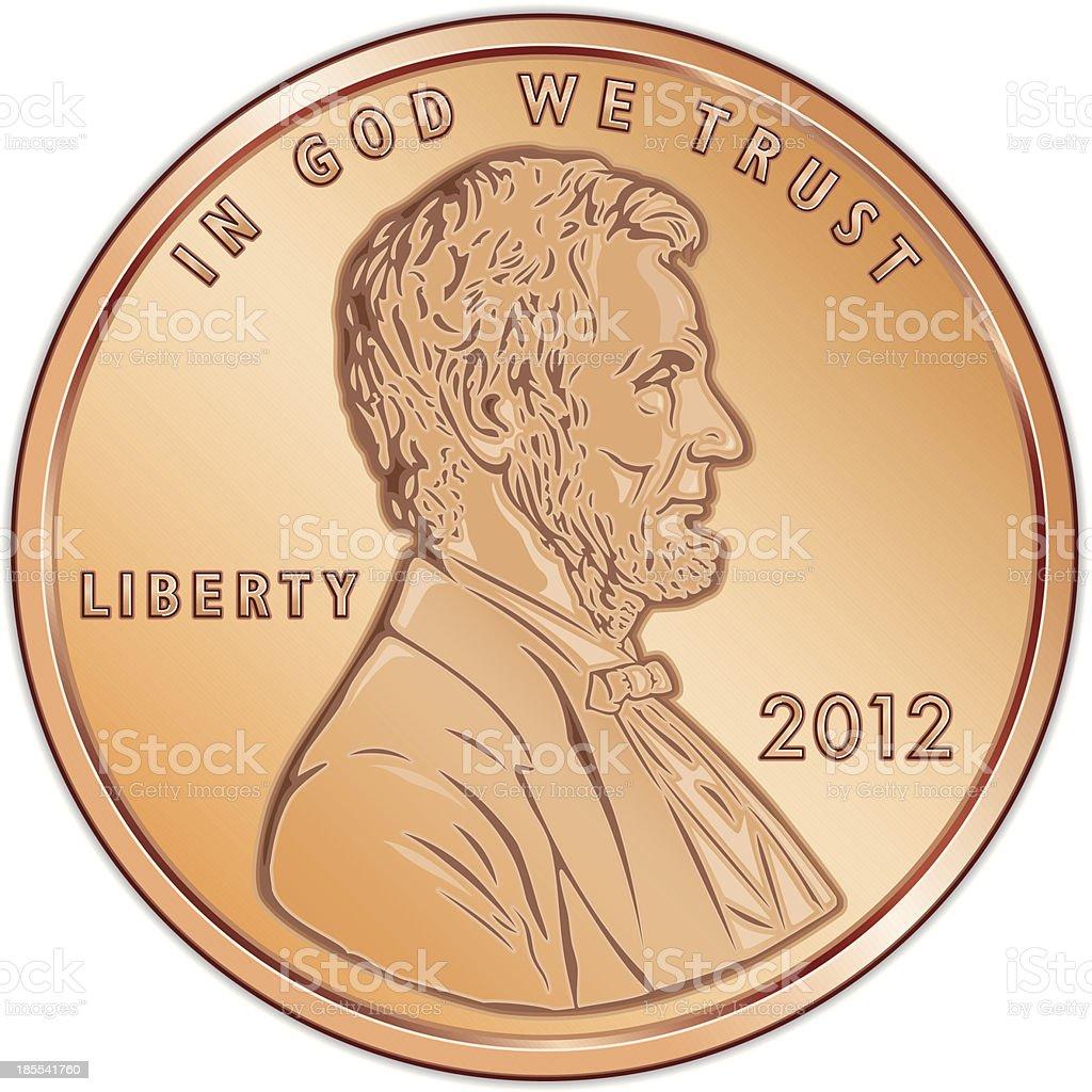 Vector illustration of a single US cent coin vector art illustration