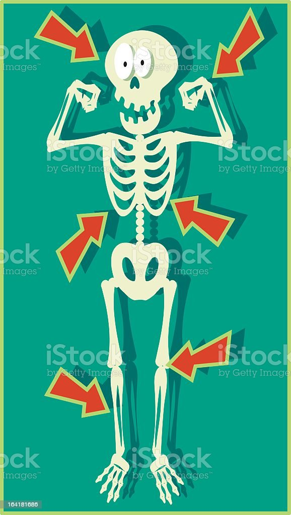 Vector illustration of a skeleton with orange arrows royalty-free stock vector art