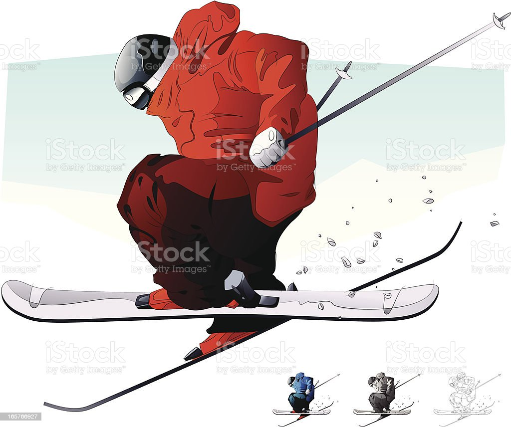 Vector illustration of a skier in red blue grey and outline royalty-free stock vector art