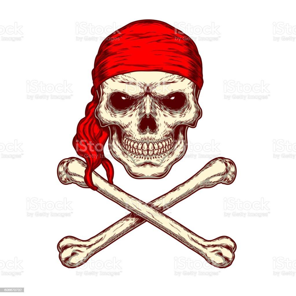 Vector illustration of a skull and crossbones vector art illustration