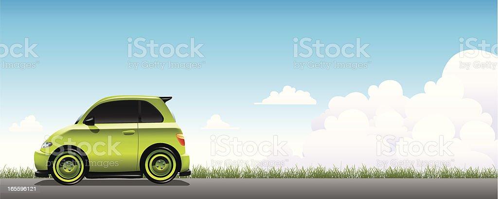 Vector illustration of a small green car on a gray road vector art illustration