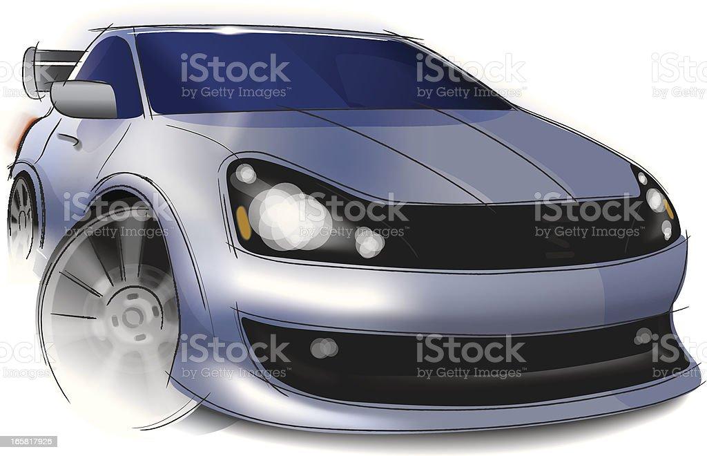 Vector Illustration of a Street Racing Car royalty-free stock vector art