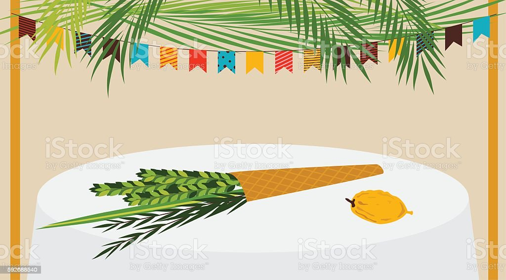 Vector illustration of a Sukkah decorated with ornaments for the vector art illustration