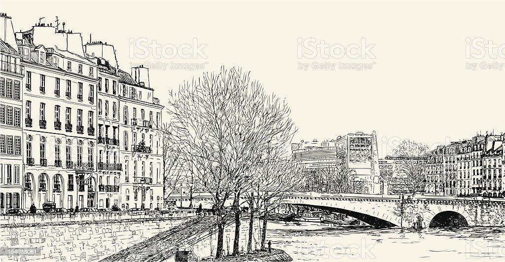 Vector illustration of a view from Pont St Louis royalty-free stock vector art