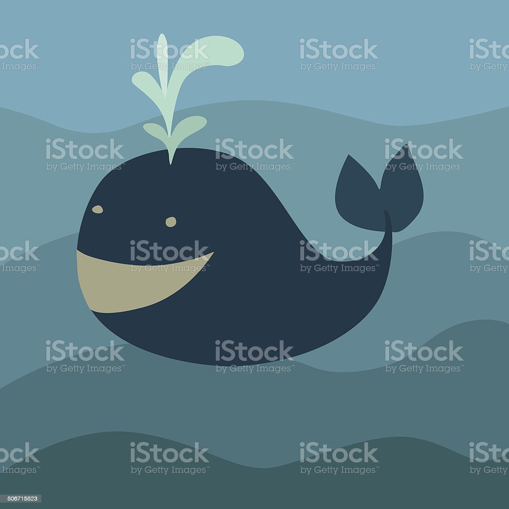 vector illustration of a whale in the ocean vector art illustration