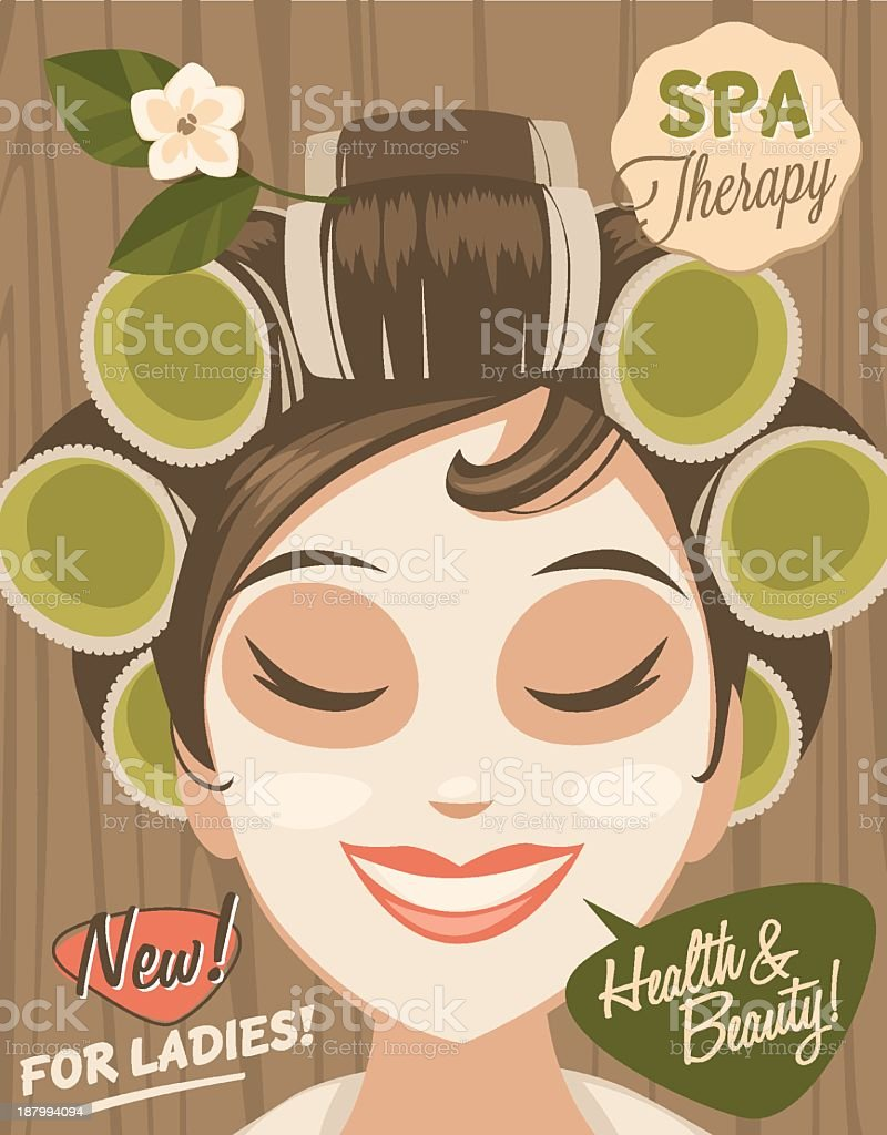 A vector illustration of a woman having a spa day royalty-free stock vector art