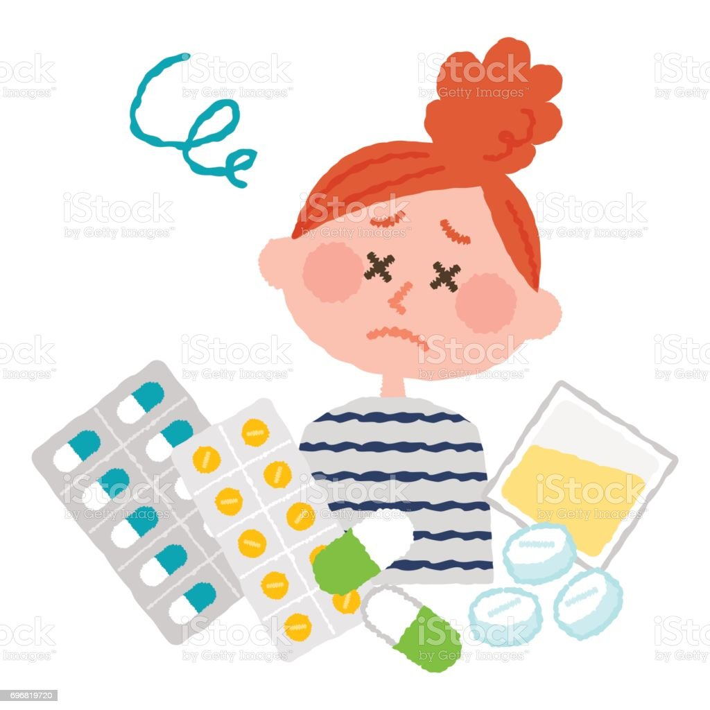 vector illustration of a woman who are tired of many medicines vector art illustration