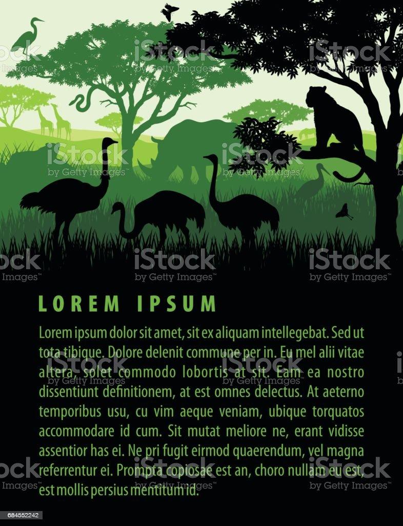 Vector illustration of african savannah safari landscape with wildlife animals silhouettes in sunset design template vector art illustration