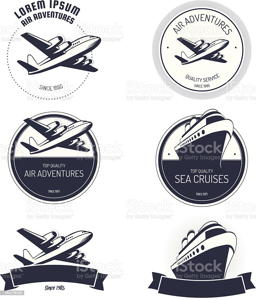 Vintage air and cruise tours labels vector art illustration