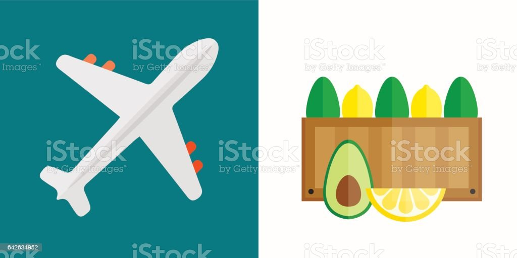 Vector illustration of airplane transport shipping box vector art illustration