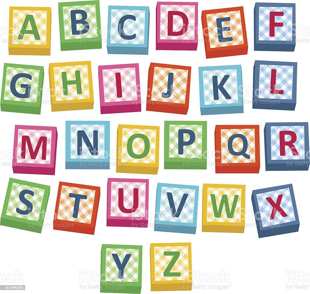 Vector illustration of alphabet blocks against white royalty-free stock vector art