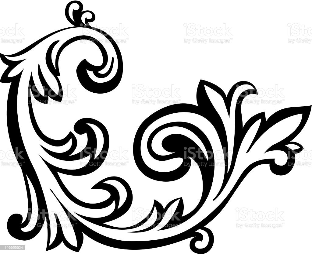 Vector illustration of an abstract floral element royalty-free stock vector art