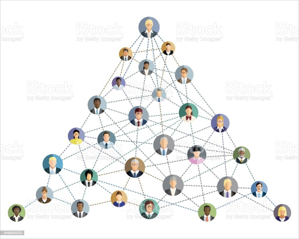 Vector illustration of an abstract social network scheme, which contains people icons connected to each other. vector art illustration