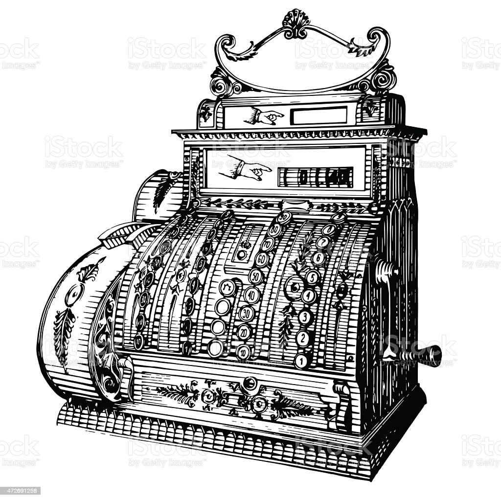A vector illustration of an antique cash register vector art illustration
