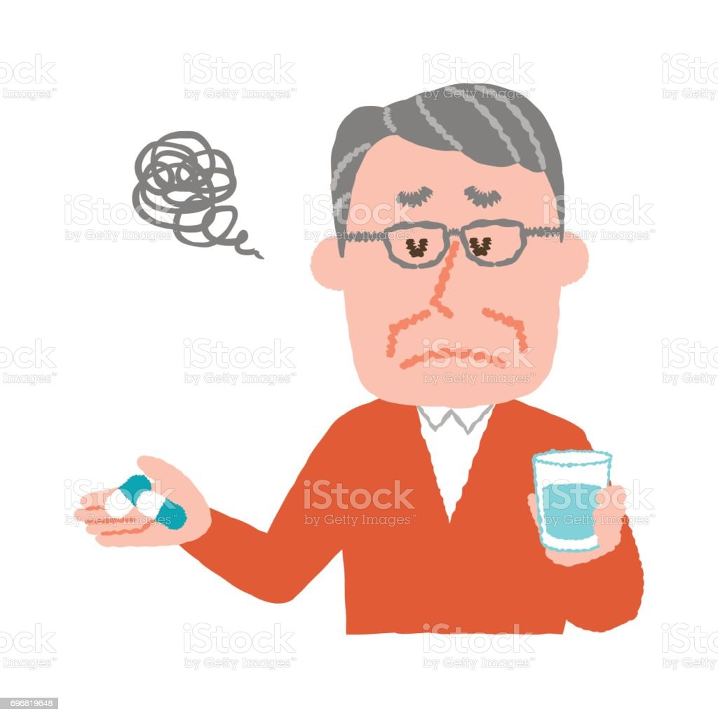 vector illustration of an elder man who don't want to take medicines vector art illustration