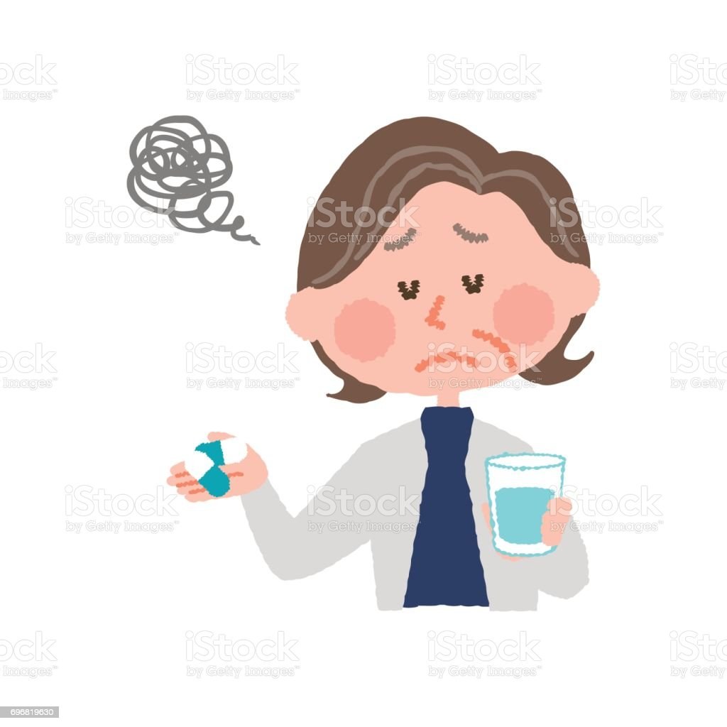 vector illustration of an elder woman who don't want to take medicines vector art illustration