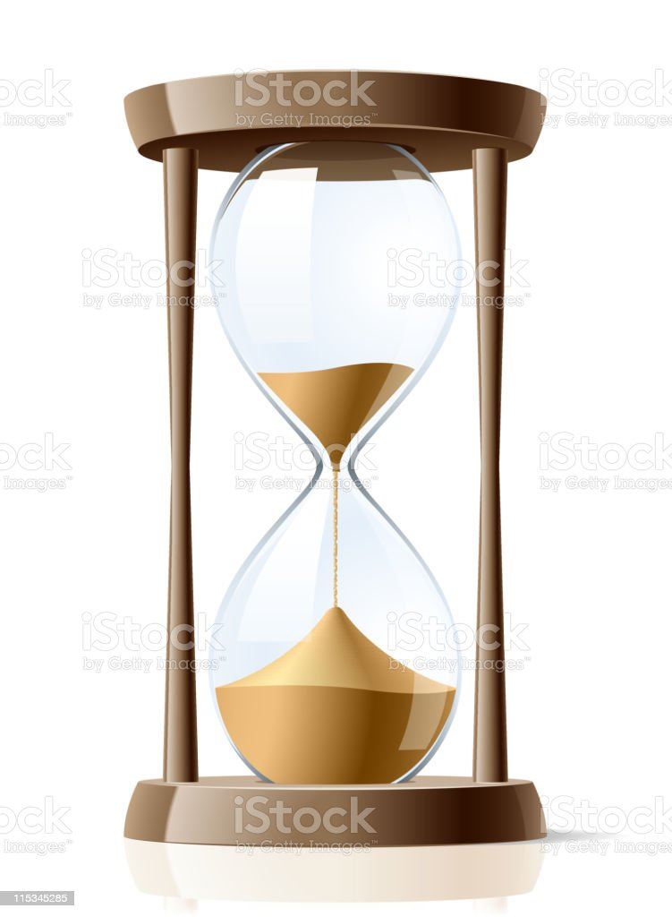 A vector illustration of an hourglass egg timer 3/4 spent royalty-free stock vector art