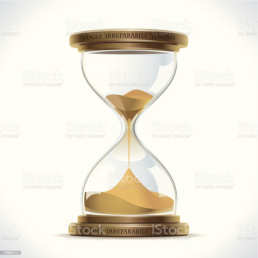 A vector illustration of an hourglass on a white background vector art illustration