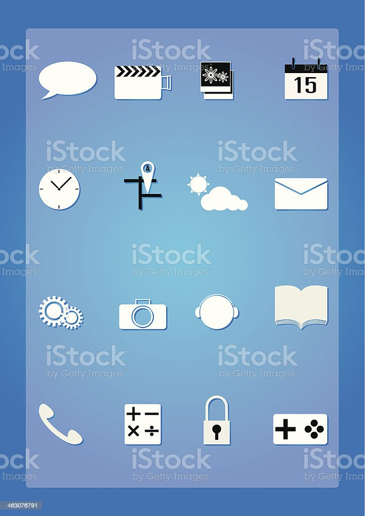 Vector illustration of application icons phone royalty-free stock vector art