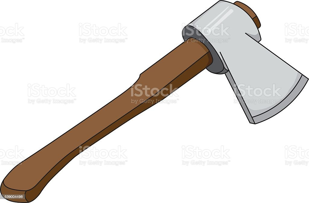 Vector  illustration of Ax with a wooden handle vector art illustration