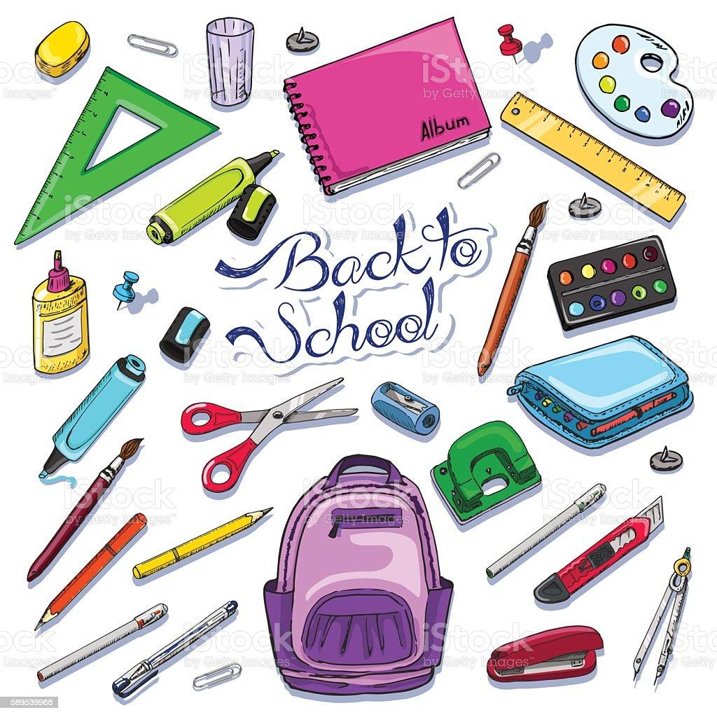 Vector illustration of Back to School supplies vector art illustration