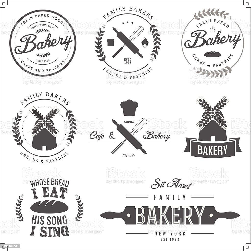 Vector illustration of bakery labels vector art illustration