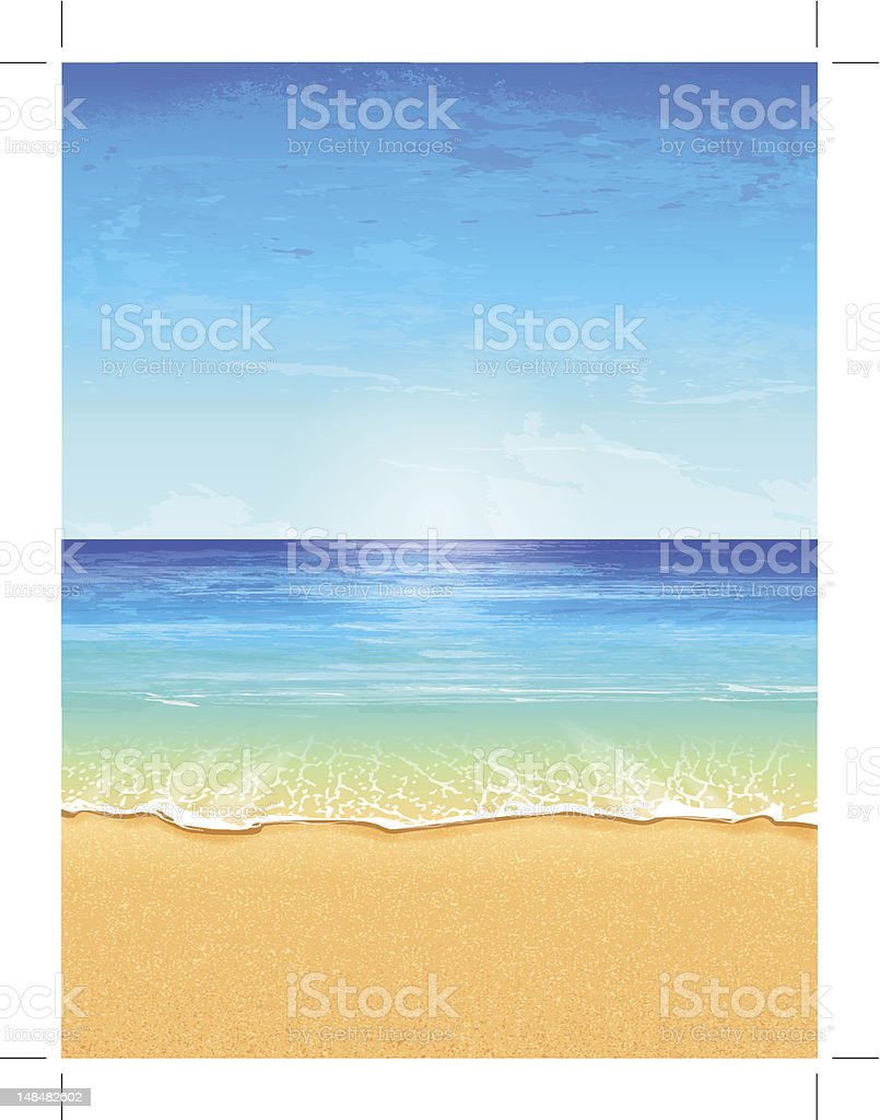 Vector illustration of beach paradise with effects vector art illustration
