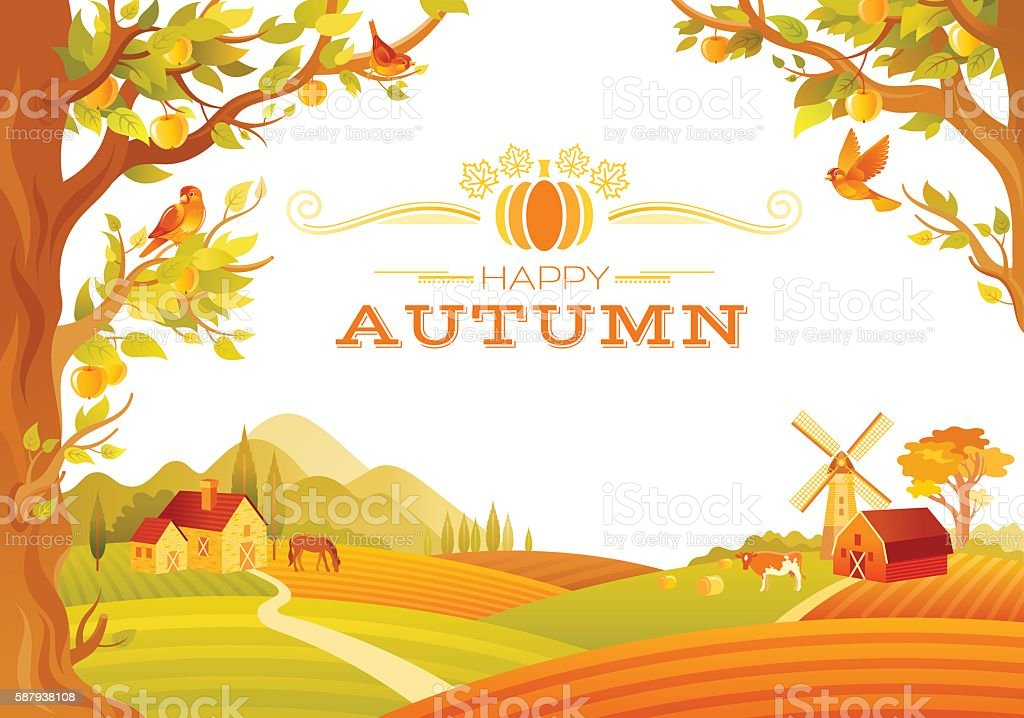 Vector illustration of beautiful autumn landscape on white background vector art illustration