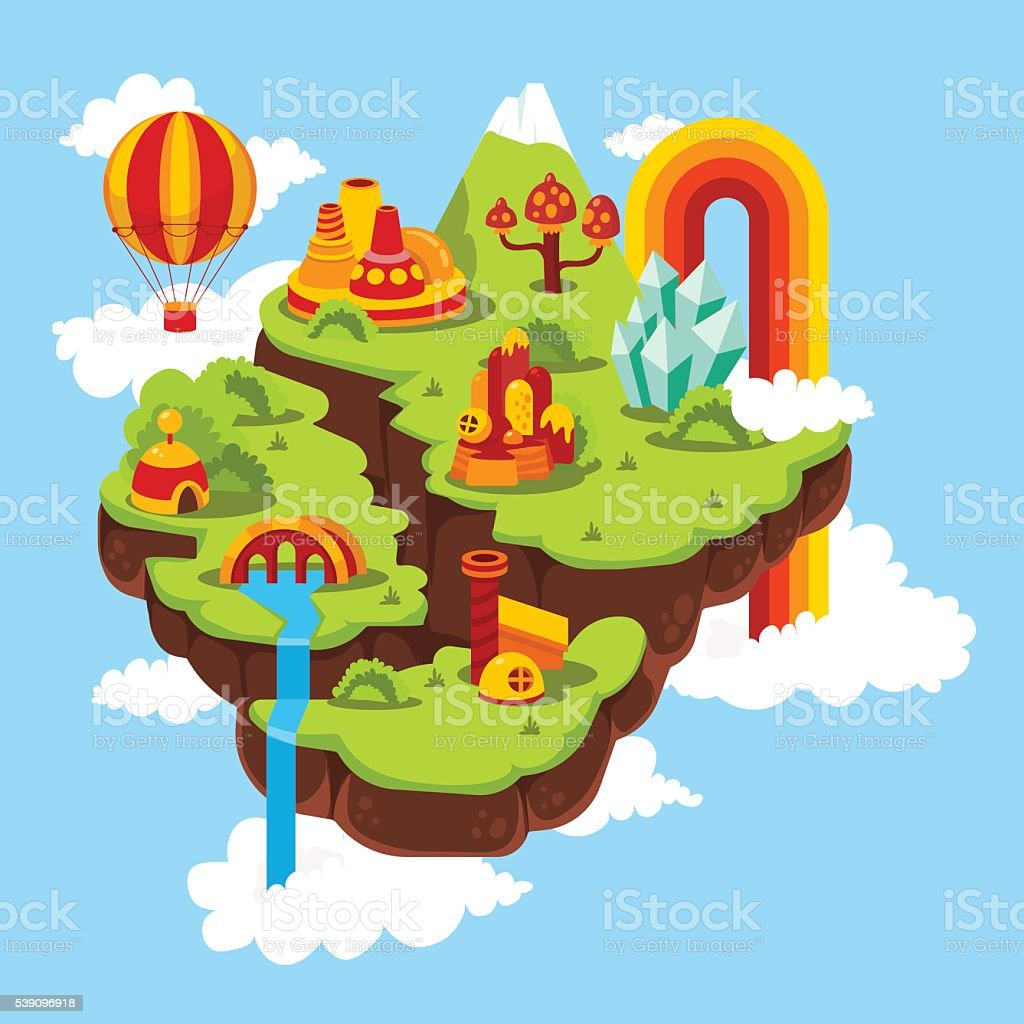 Vector illustration of beautiful fabulous flying island in the sky vector art illustration