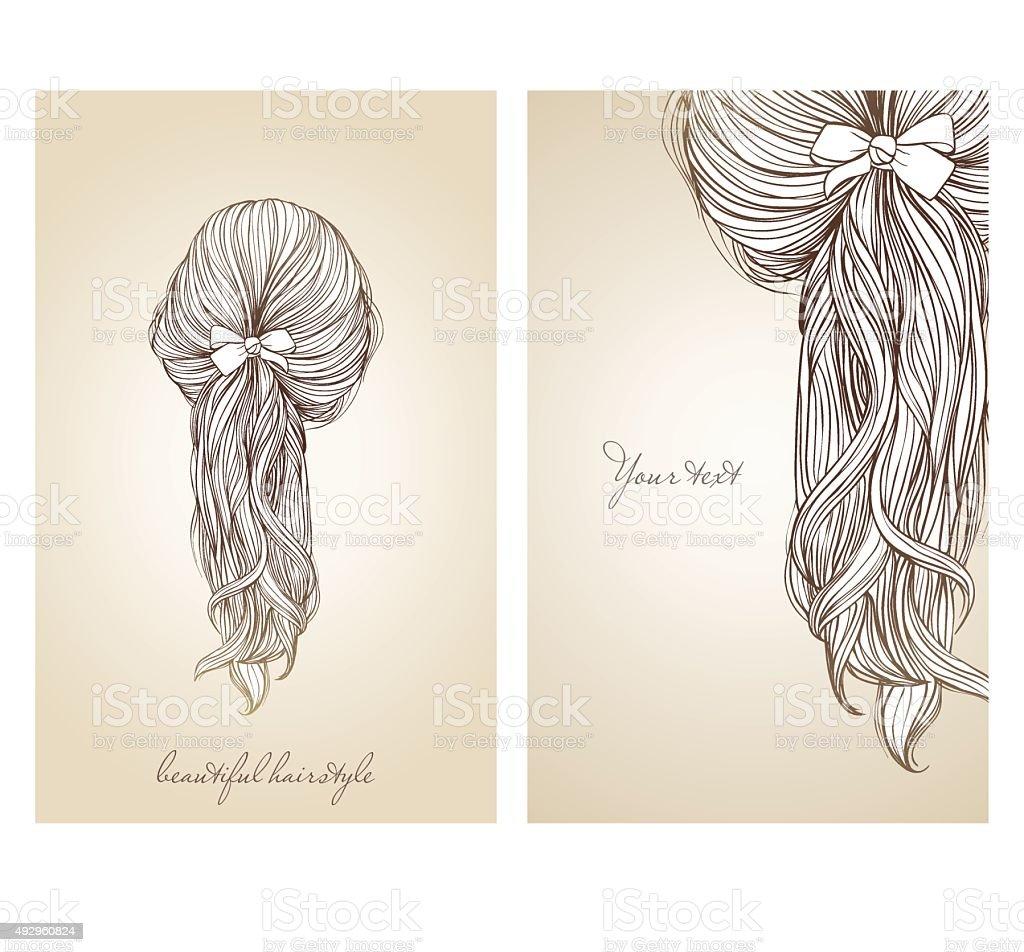 Vector illustration of  beautiful female hairstyle. vector art illustration