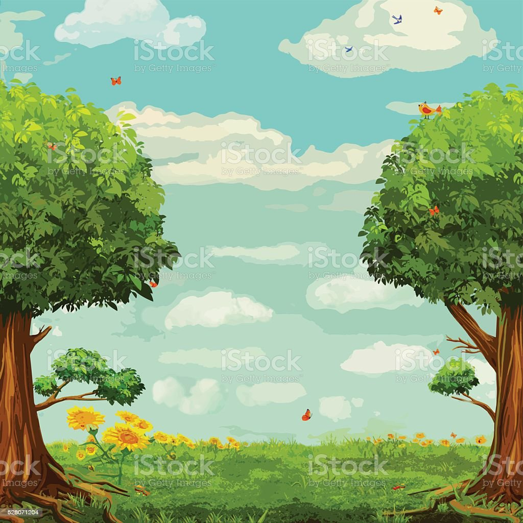 Vector illustration of  beautiful woodland scene with trees and sky vector art illustration