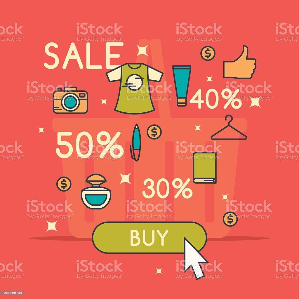 Vector illustration of best sale in cartoon style vector art illustration