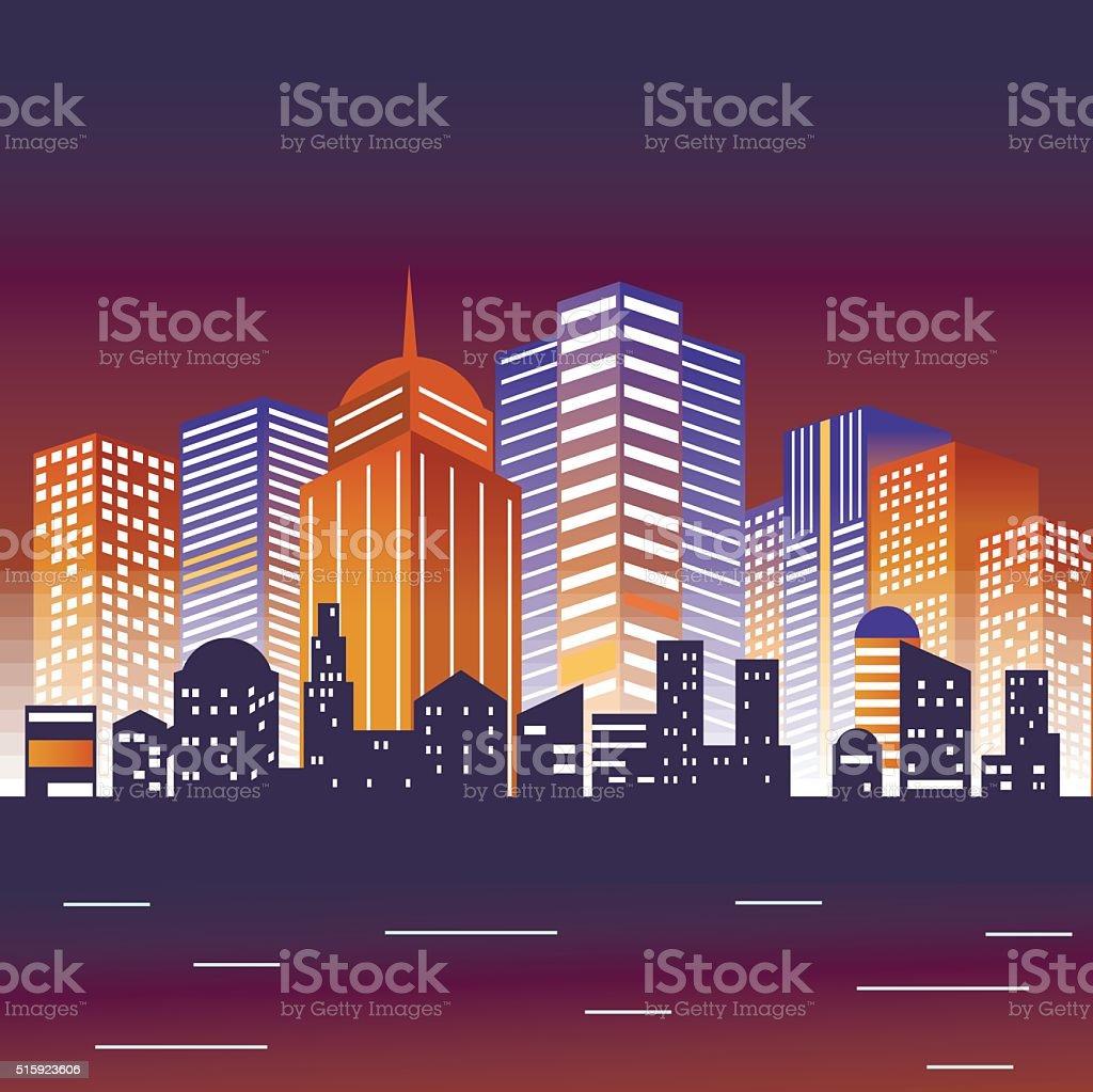 Vector illustration of big city vector art illustration