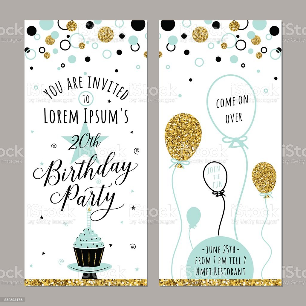 Vector illustration of birthday invitation. Face and back sides. Party vector art illustration