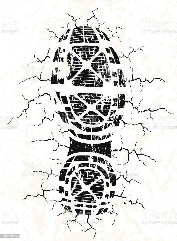 Vector illustration of black shoe track and cracks vector art illustration