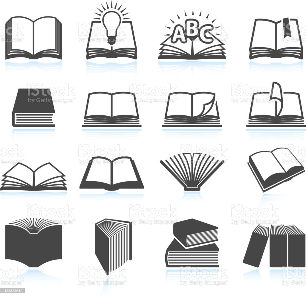 Vector illustration of black textbook icons vector art illustration