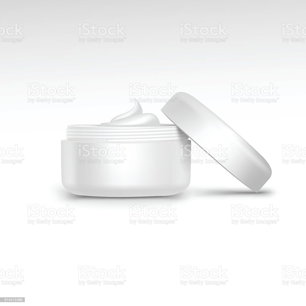 Vector Illustration of Blank Jar with Cream Swirl Isolated vector art illustration
