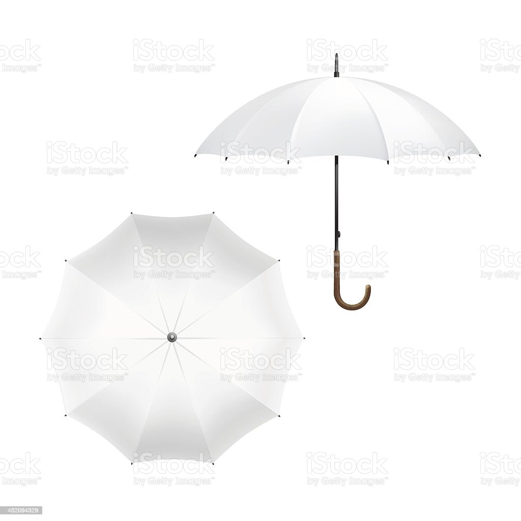 Vector Illustration of Blank White Umbrella vector art illustration