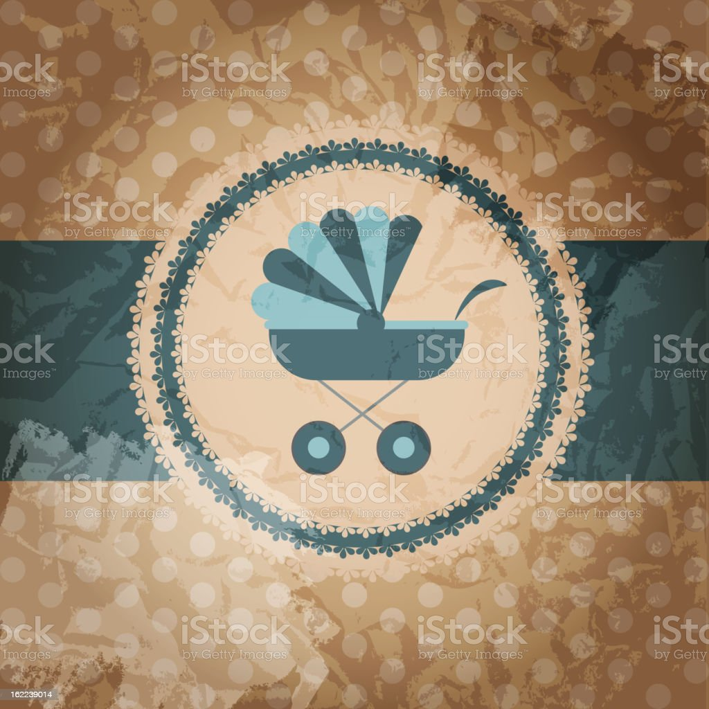 Vector illustration of blue baby carriage for newborn boy royalty-free stock vector art