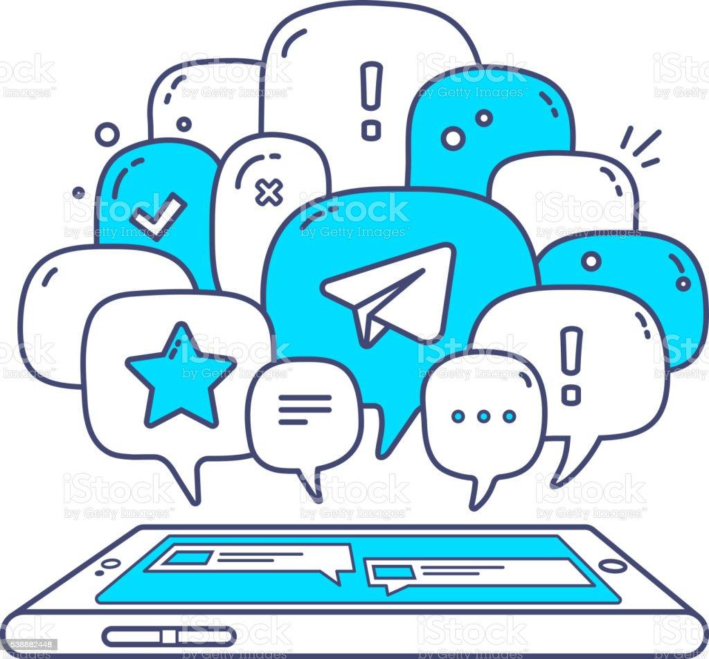 Vector illustration of blue color dialog speech bubbles vector art illustration