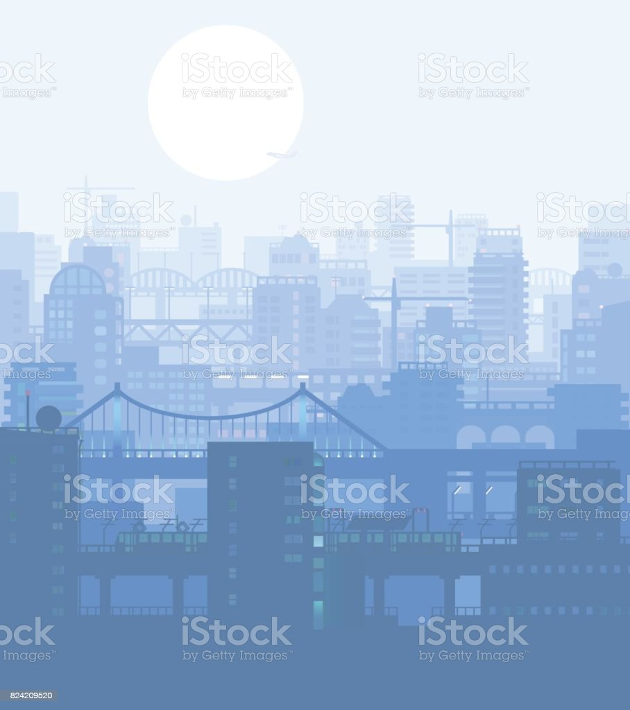 Vector illustration of blue colored urban environment view. vector art illustration