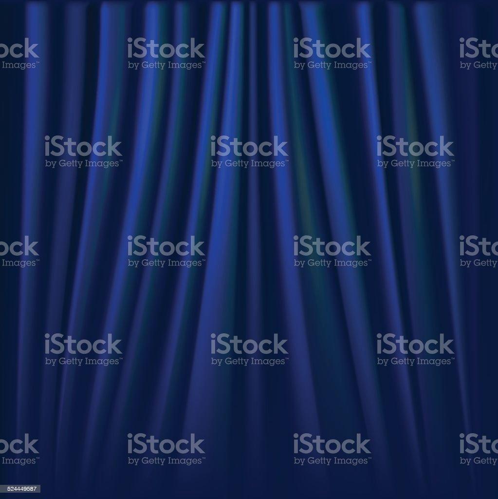 Vector illustration of blue curtain. vector art illustration