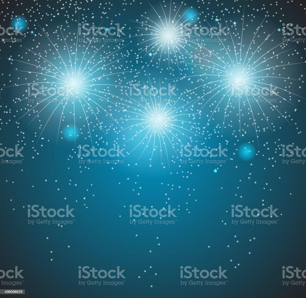 Vector illustration of blue fireworks background vector art illustration