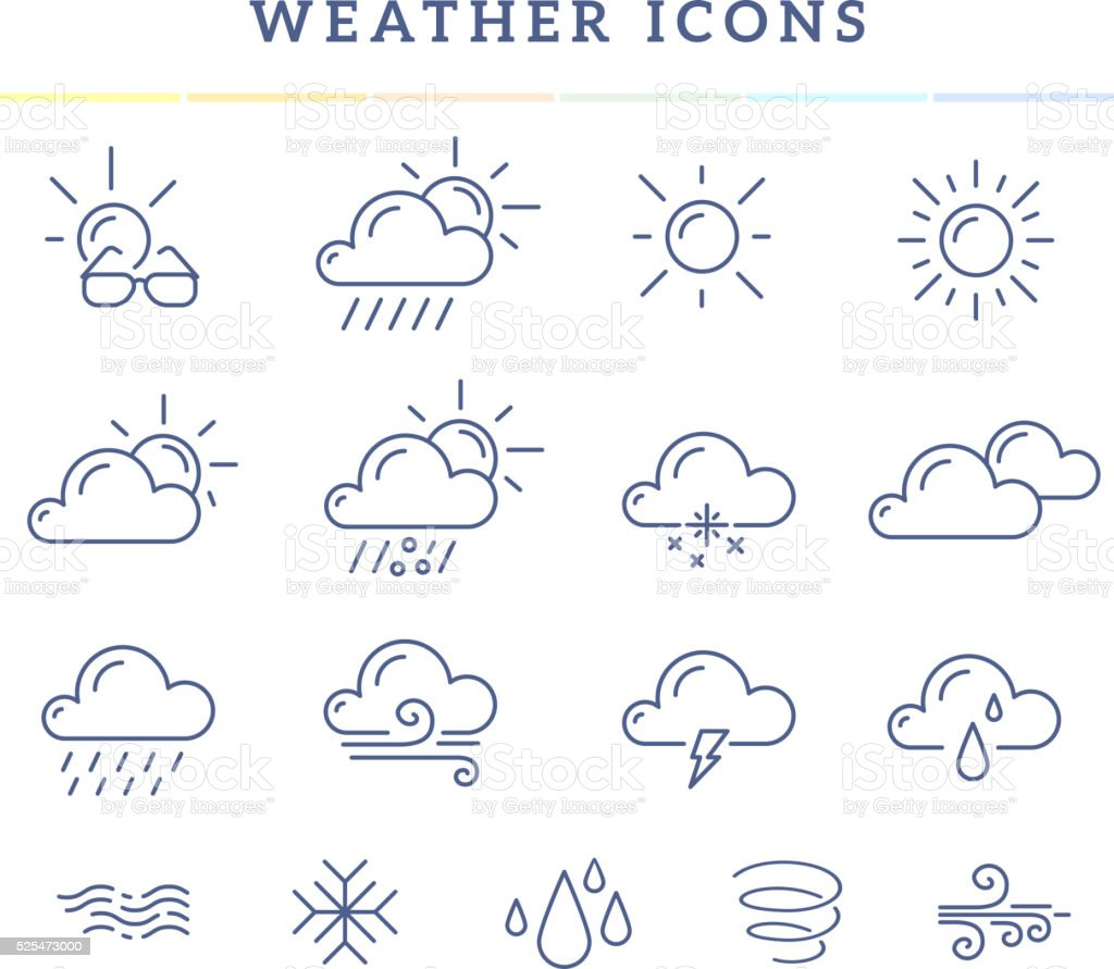 Vector illustration of blue weather theme icon set vector art illustration