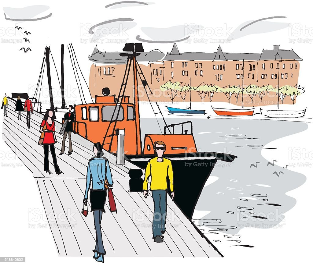 Vector illustration of boat moored on Stockholm harbour, Sweden vector art illustration